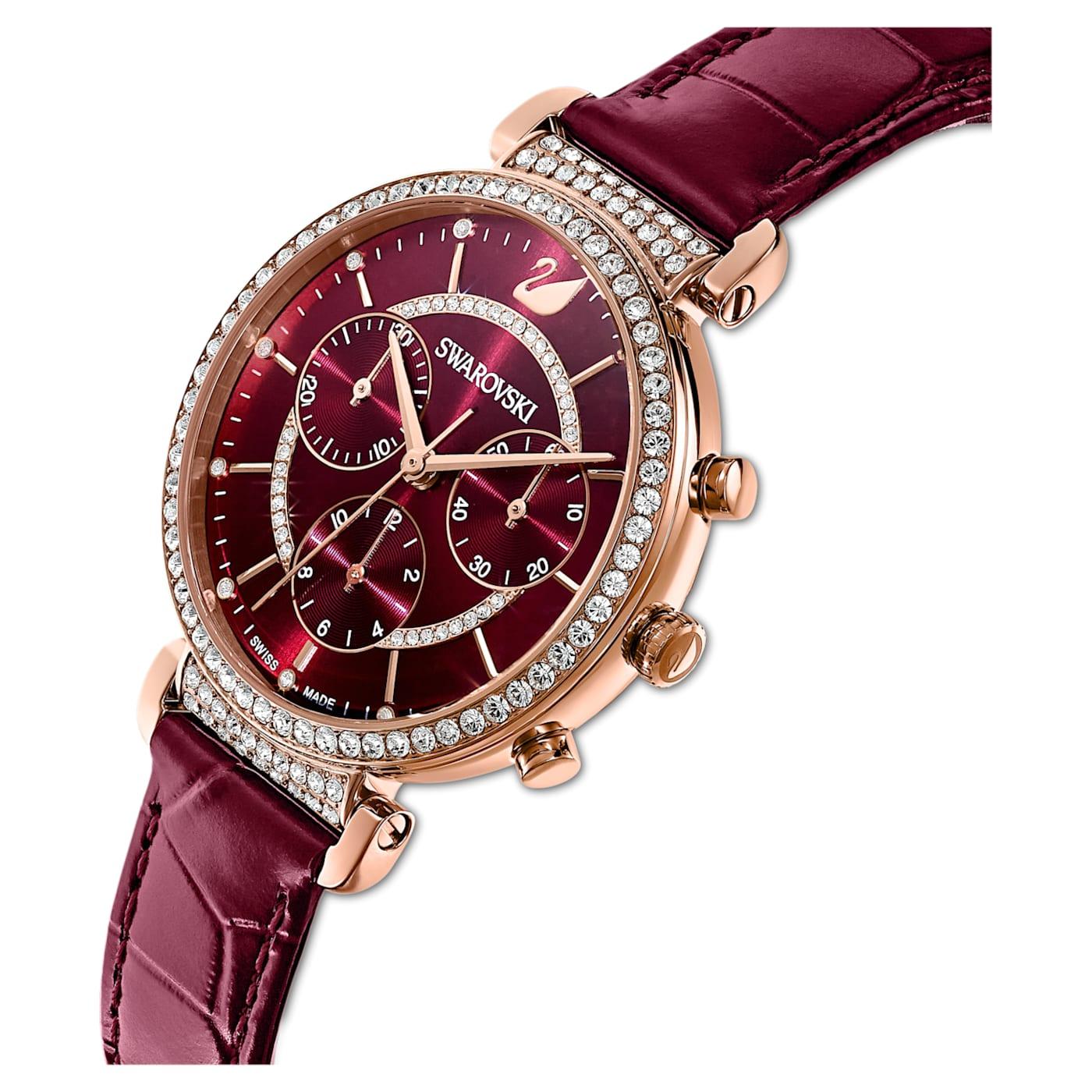 Montre Passage Chrono bracelet en cuir, Rouge, PVD doré rose, Swarovski