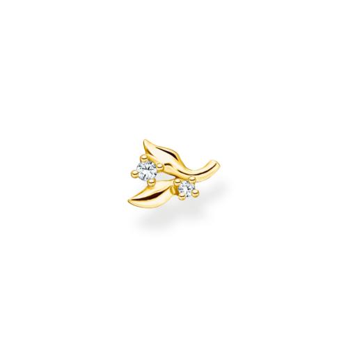 Clou d'oreille unique feuilles, pierres blanches et or jaune, Thomas Sabo