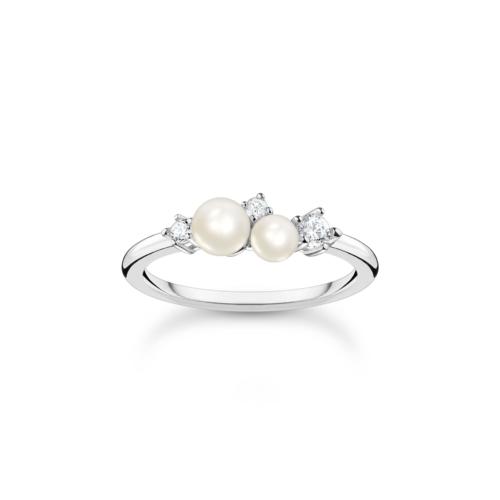 Bague perles et pierres blanche, argent, Thomas Sabo